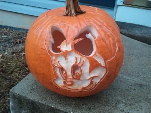 Minnie Mouse pumpkin after bleach bath